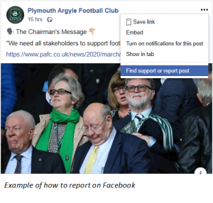 Example of how to report on Facebook.